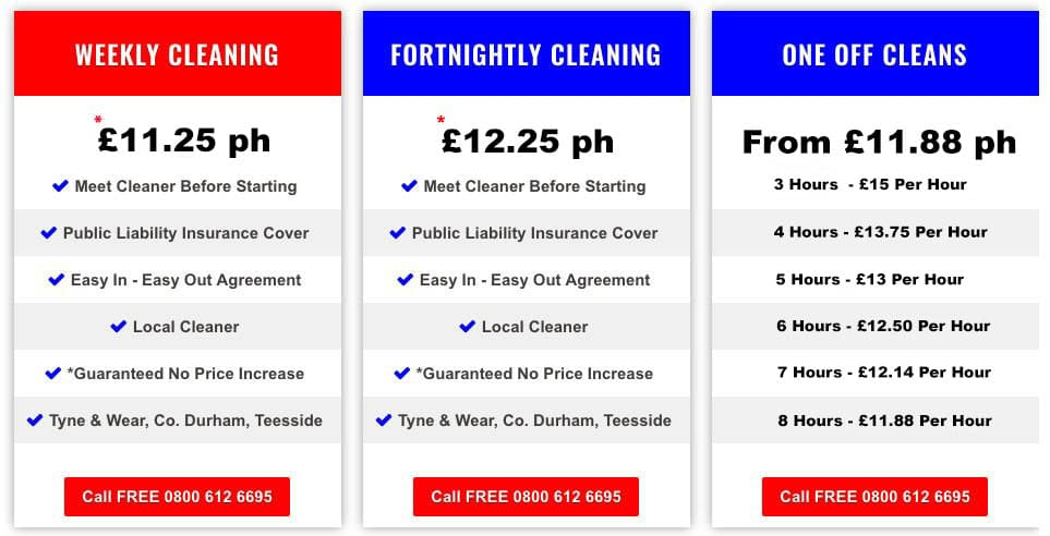 a price list for weekly house cleaning, fortnightly cleaning and one off cleaning